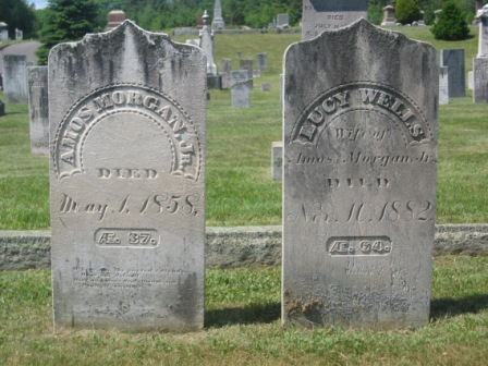 Headstone of Amos Morgan, Jr. & Lucy Wells