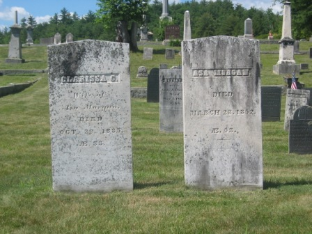 Headstones of Amos Morgan & Clarissa Colby