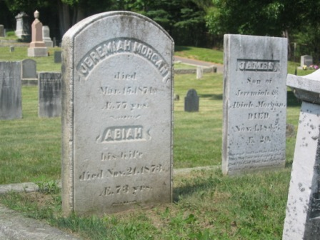 Headstone of Jeremiah Morgan & Abiah Colby, and their son James