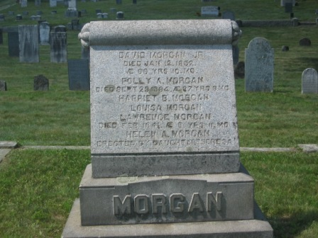 Headstone of David Morgan, Jr. & Polly Andrews Colby, and listing their children.  The stone's inscription says 'Erected by daughter Theresa,' but Aunt Hilda said all the living children chipped in to pay for it.