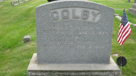 Headstone of Frank E. Colby & Caroline P. Dubia