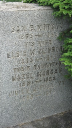 Headstone of Sam Morgan & Elsie Clifford, and their daughters Hazel and Vivian