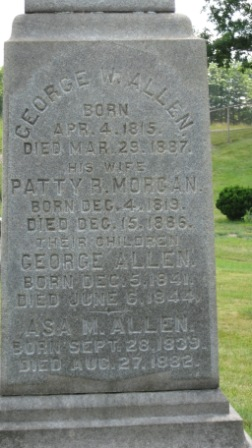 Headstone of George Allen, Patty Morgan, and their sons George and Asa Allen
