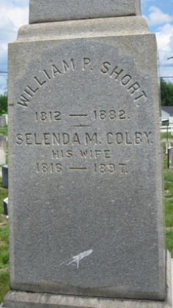Headstone of William Short & Selenda Colby