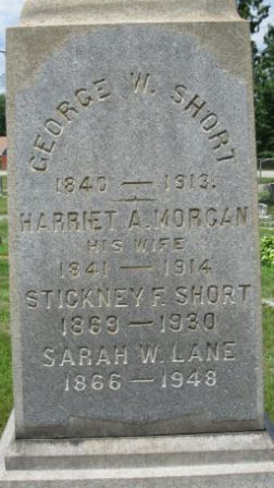 Headstone of George Short, Harriet Morgan, and their children Sarah (Short) Lane and Stickney Short