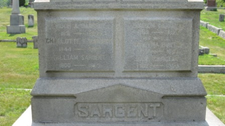 Headstone of Simeon Sargent & Martha Bunten, their daughter Jane, son William, and grandchildren Enoch and Charlotte