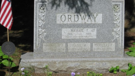 Headstone of Chandler Ordway & Hazel McLaughlin, their son Douglas Felton Ordway, and grandson Michael Ordway